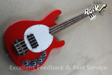China OEM Factory 4 Strings Music man Bass Electric Guitar StingRay Ball Red Color & Left Hand Available