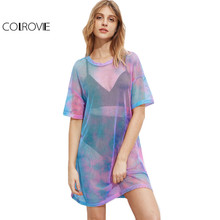 COLROVIE Multicolor Tie Dye Fishnet Summer Dress 2017 Casual Drop Shoulder Women Mini Shift Dresses Sexy Semi Sheer Tee Dress