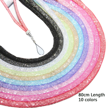 Hot!Crystal Bling Diamond 80CM Lady's Mobile Phone Strap Chain Bags Hang Rope Decorative Lanyards Flashlight Chain Key Ring+Gift