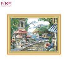 NKF 14CT 11CT Счетный и штамп Приморский Cafe наборы для вышивки крестом для украшения дома F645(China)