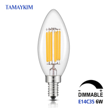 Dimmable E14 C35 LED Filament Light Bulb,6W 220V-240V,Clear Glass vintage Edison Candelabra Style Lamp,2700K Warm White - TAMAYKIM Lighting Offcial Store store
