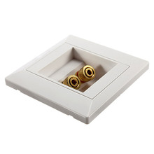 New 2 Binding Post Banana Plug Gold Plated Audio Jacks Wall Plate Panel Two Speakers Interface 86mm x 86mm