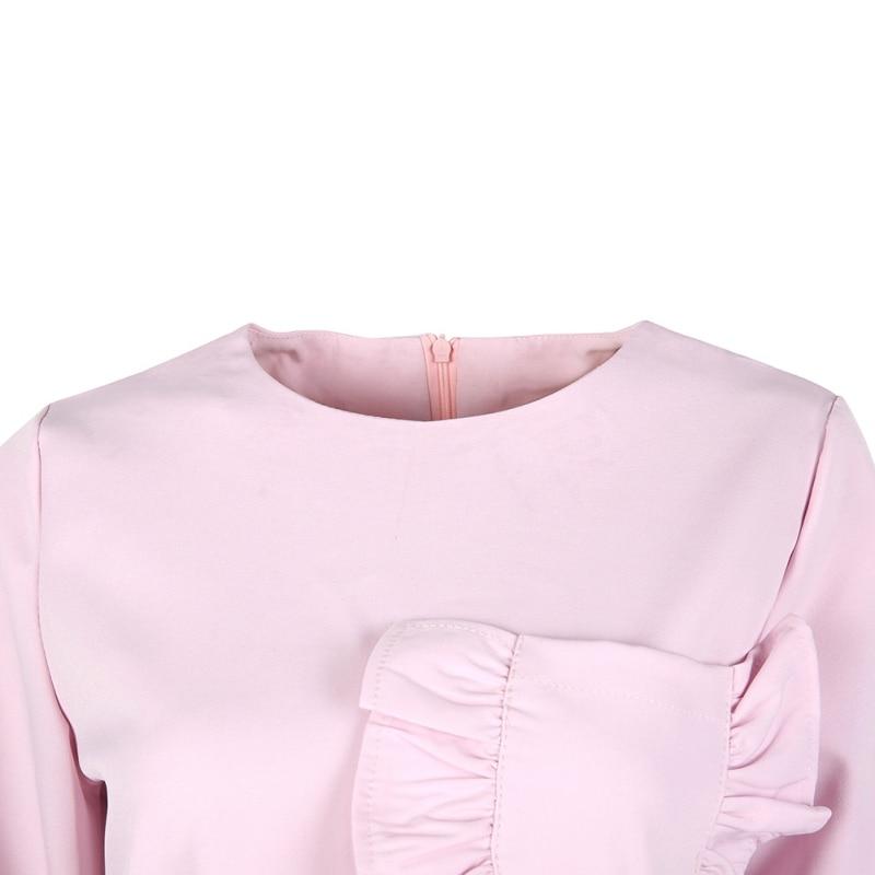 ETOSELL Summer Autumn New Fashion Ruffle Pocket Women Blouse Shirts Solid Slim Female Full Sleeve O-neck Shirt Bouse Tops
