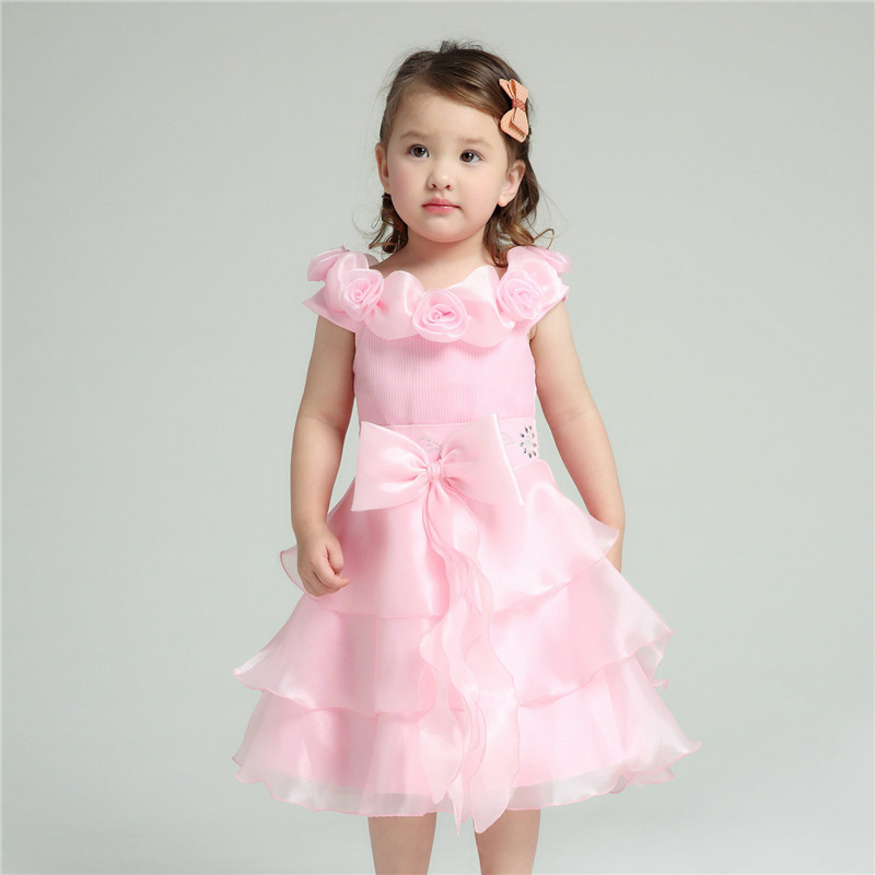 Pink Formal Girl Dresses Children Wedding Princess Flower Girl Vestidos Kids Clothes For Girls Of 2 To 12 Years Old AKF164057<br><br>Aliexpress
