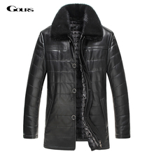 Gours Winter Mens Genuine Leather Jacket Brand Clothing Sheepskin Coat Rex Rabbit Fur Parka with Mink Collar 2016 New(China)