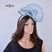 New exclusive design Big Pale blue Dress Sinamay fascinator hat w/ feather for Kentucky Derby,races,wedding,party,church,QF125(China)