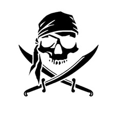 15.2*16.1CM Pirate Skull Personalized Custom Car Stickers Stylish Motorcycle Vinyl Decals Black/Silver C7-0951(China)