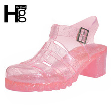 HEE GRAND 2017 Hot High Heeled Jelly Sandals Gladiator Glitter Crystal Women Kids Girls Ladies Platform Shoes XWZ420