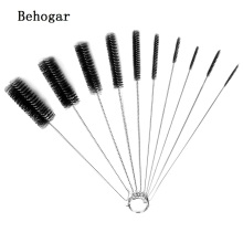 Behogar 10Pcs Stainless Steel Nylon Tube Brush Pipe Cleaning Brushes Set & Keyring for Kitchen Home Kettle Spout Teapot Nozzle(China)