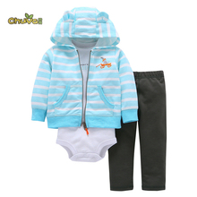 Chuya New autumn baby girl Boys Sky Blue clothes set Newborn Baby Boy Girl Warm Hooded Coat Rompers+Pants Outfits Sets(China)