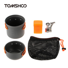 TOMSHOO Outdoor Camping Backpacking Cooking Picnic Pot Sets Cook Set Hiking Cookware with Mini Camping Outdoor Stove