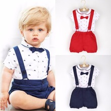 2017 Little Gentleman Costume Newborn Baby Boy Cloth Infant Gentleman Outfits T-shirt Romper Tops + Suspender Shorts Set 1-6T(China)