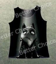 Track Ship+Vintage Retro Vest Tanks Tank Tops Cartoon Frankenweenie Frank Dog Naughty Bulldog  1209