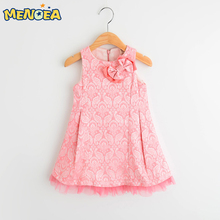 Menoea  Pink Girls Dresses 2017 New Spring&Summer Style Girls Clothes Sleeveless Floral Lace Design for Princess Dress 3-7Y