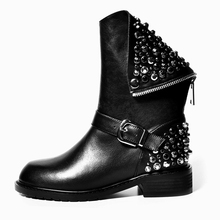 Rivet Rhinestones Black Winter boots Women studded ankle boots(China)