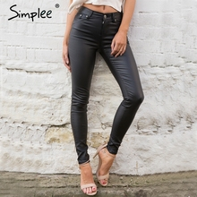 Simplee Slim leather women pants capris leggings Autumn winter sexy high waist pants trousers Black pencil pants female bottom