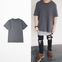 Deep Gray Skateboard Tee Casual Loose Clothing Hiphop Men Tops Street Fashion T-shirts Comfortable Cotton t shirt China SIZE