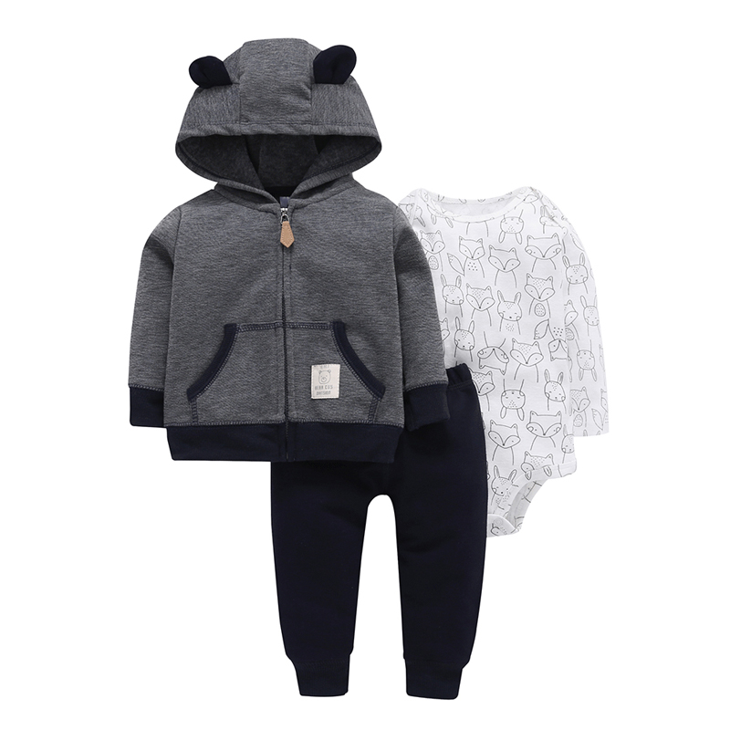 2018 autumn winter outfits for 6-24M infant BABY BOY GIRL CLOTHES hooded coat+bodysuit fox+pants 3pcs animal print clothing set