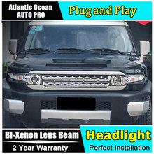 car styling Toyota Fj CRUISER headlights U angel eyes DRL 2008-14 LED light bar Bi-xenon Double lens HID - HuoSheng Car Parts Store store
