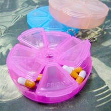 Portable Kids Adults Round 7 Slot Health Pill Box Case Medicine Drug Organizer Portable Pill Case Organizer Medicine Container