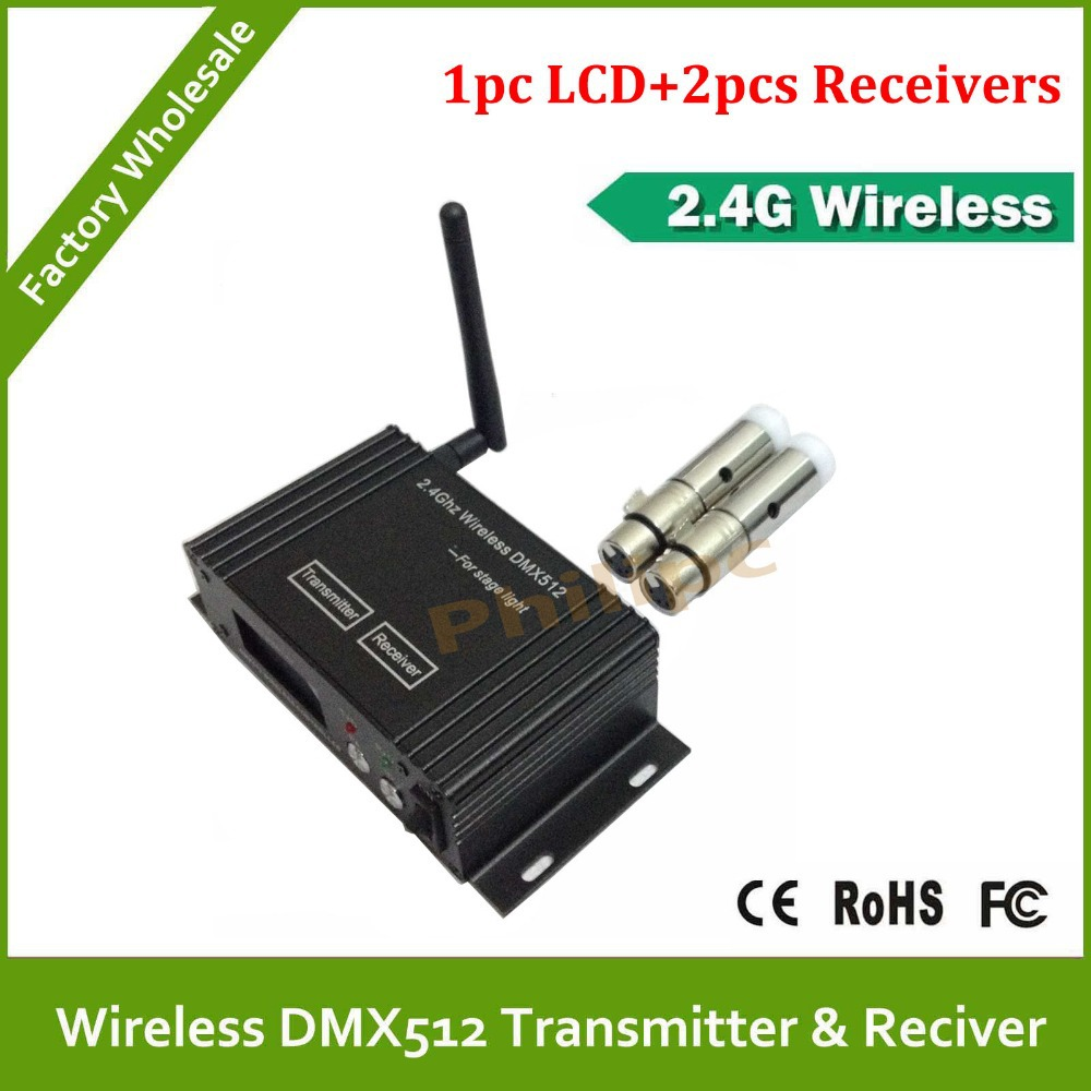 DHL  Free Shipping ! Wireless DMX 1PC Transmitter + 2PC Receiver<br>
