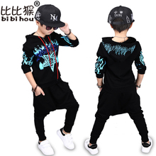 Bibihou Autumn children's clothing boy hooded 2017 suit hip hop tide sets baby kids coat + pant long sleeve star dance clothes(China)