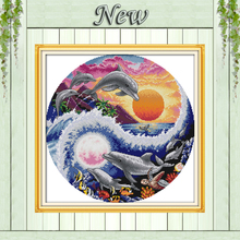 Sun moon and dolphins scenery Decor paintings counted print on canvas DMC 11CT 14CT kits Cross Stitch embroidery needlework Sets