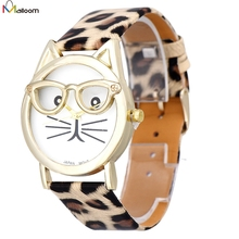 2017 Fashion Montre! New Best Women Watch Cute Glasses Cat Pattern Women Analog Quartz Wrist Watch Casual Girl Bracelet Hour