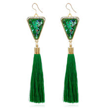 Buy Itenice fashion jewelry triangle ethnic bohemia Enamel style tassels earrings women crystal charm drop earrings for $1.08 in AliExpress store