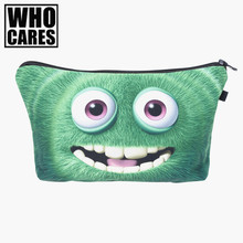 Green monster Cosmetic Bags 3D Printing Travel Makeup bag Fashion Small bags Gift trousse de maquillage make up bag pencil case(China)