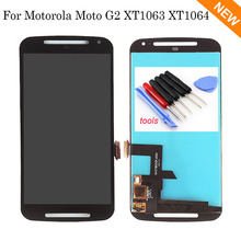 For Motorola Moto G2 XT1063 XT1064 XT1068 Lcd display touch screen with digitizer glass assembly + Tools , Black Free shipping