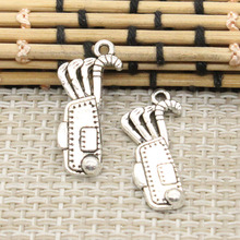 10pcs Charms golf bag clubs 25*11mm Tibetan Silver Plated Pendants Antique Jewelry Making DIY Handmade Craft(China)