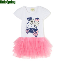 on sale girls dress Hello kitty cartoon tutu dress green pink choose SIZE(please look at the detail )(China)