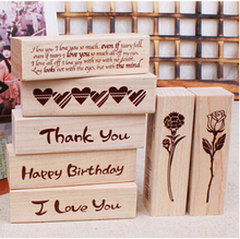 DIY New Blessing Wood Stamps I love you Happy Birthday Thank you Stamp Gift Scrapbooking Free shipping