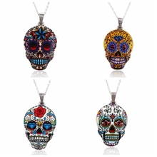 Jisensp New Fashion Colorful Skull Pendant Necklace Women Silver Zinc Alloy Skull Head Chain Necklace Party Gifts OXL021-24