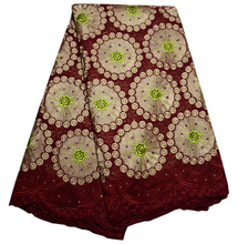 (5yards/pc) High density African dry cotton lace fabric in wine red with wonderful embroidery and stones for party dress CLP01