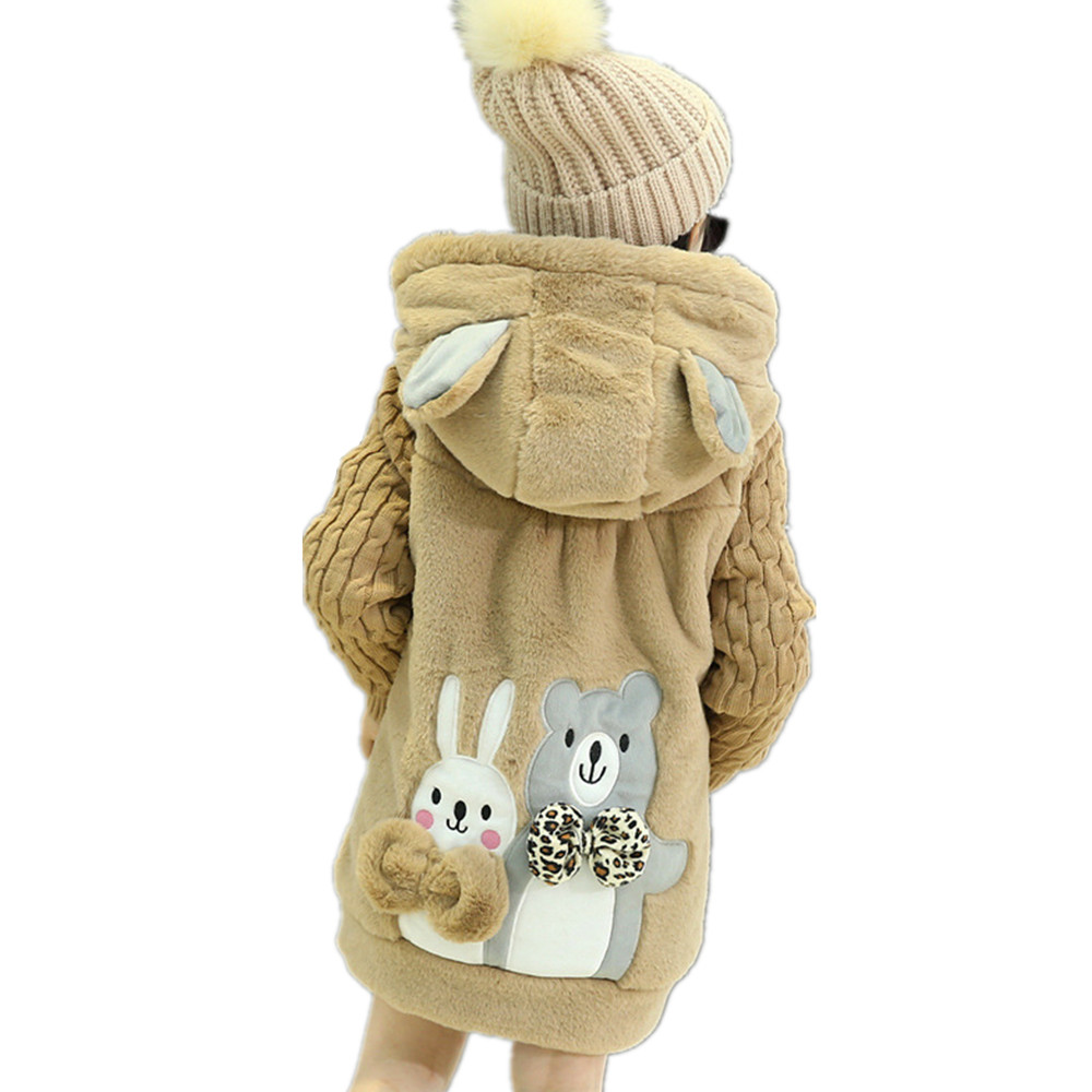 Winter Girls Coat Cute Rabbit Hooded Long Jacket Children Knitted Outfits Kawaii Outerwear Pink Khaki<br>