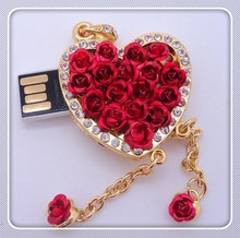100% real capacity Red rose usb flash Drive Card Memory Stick Drives 16GB 8GB 4GB Fashion heart pen drive 32GB 64GB S56