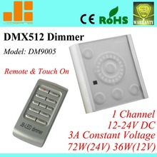 Free Shipping Remote DMX driver w/ touch pannel, dimmable DMX controller, 1ch 12V-24V pwm 3A/72W DM9005