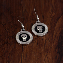 Punisher Drop Earrings Dome Marvel Comics Superhero Earrings Groom Wedding Bridal Gift Prom Jewelry Love Couple gifts(China)