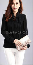 Women plus size Summer stand full sleeve Pleated Straight chiffon blouse female puff sleeve loose shirts DY F539 108#(China)