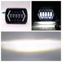"5"" x 7"" 7x6 90W Square with Angel Eyes High/Low H4 LED Headlight For Jeep XJ MJ Toyota Celica Nissan 240SX(s13)(China)"