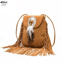 New Vintage Bohemian Fringe Messenger Crossbody Bag Purse Women Tassel Boho Hippie Gypsy Fringed Tote Handbag Womens(China)