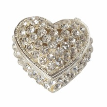 Metal alloy silver Heart jewelry box wedding ring gift boxes ornaments home accessories Valentine Christmas gift