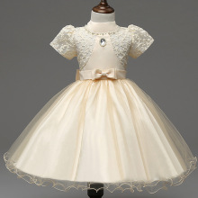 lace flower girl dresses ivory yellow 3 5 7 years ball gowns for infant girls princess costume elegant cheap girl party dresses