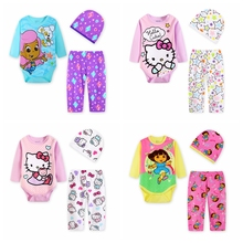 Hot Autumn Hello Kitty Series Baby Rompers Infant Jumpsuit Full Cotton Long Sleeve 3pieces Baby Girls Climbing Clothes set
