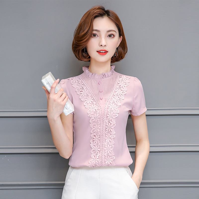 Hunter-wish 2017 Summer lace blouse New Women Clothing Lace embroidery Chiffon shirt Short Sleeve Female Women Tops 3XL