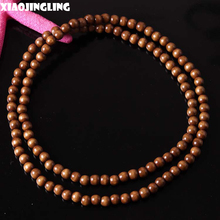 XIAOJINGLING 90cm Fashion Long Necklace Men Jewelry Simple Design 128 Beads Wood Necklaces Creative Sweater Accessories Present