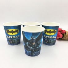 10pcs/lot Batman Party Supplies Paper Cup Cartoon Birthday Decoration Baby Shower Theme Festival For Kids Girls Boys