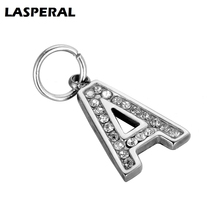 LASPERAL 2017 Rhinestone Letters Charms Silver Color Stainless Steel Charms Pendants DIY Chain Bracelet Necklace Jewelry Gifts(China)